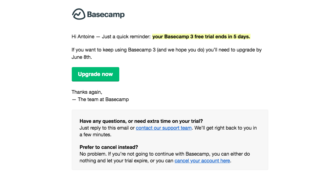 Basecamp Free Trial Emails