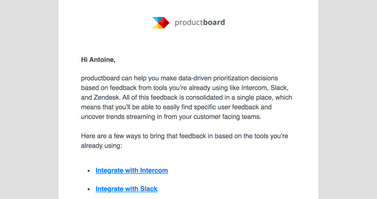 Productboard Retention Email