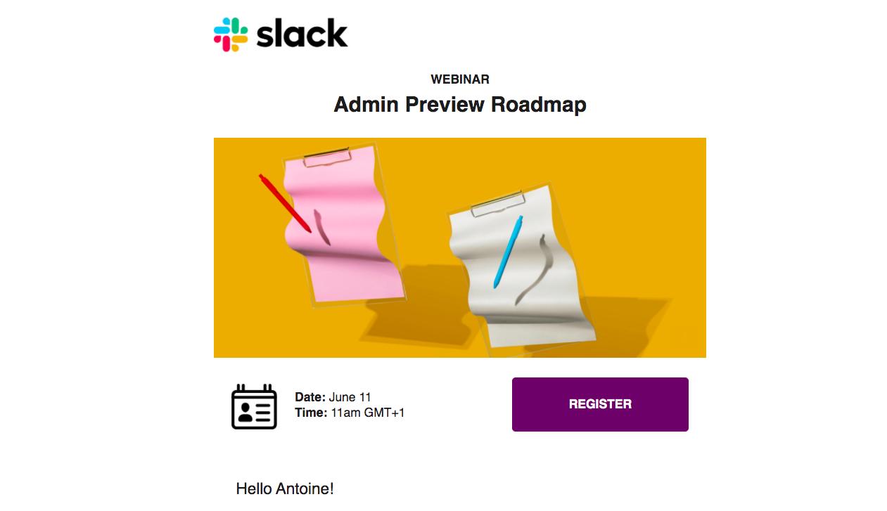 Slack Webinar Emails