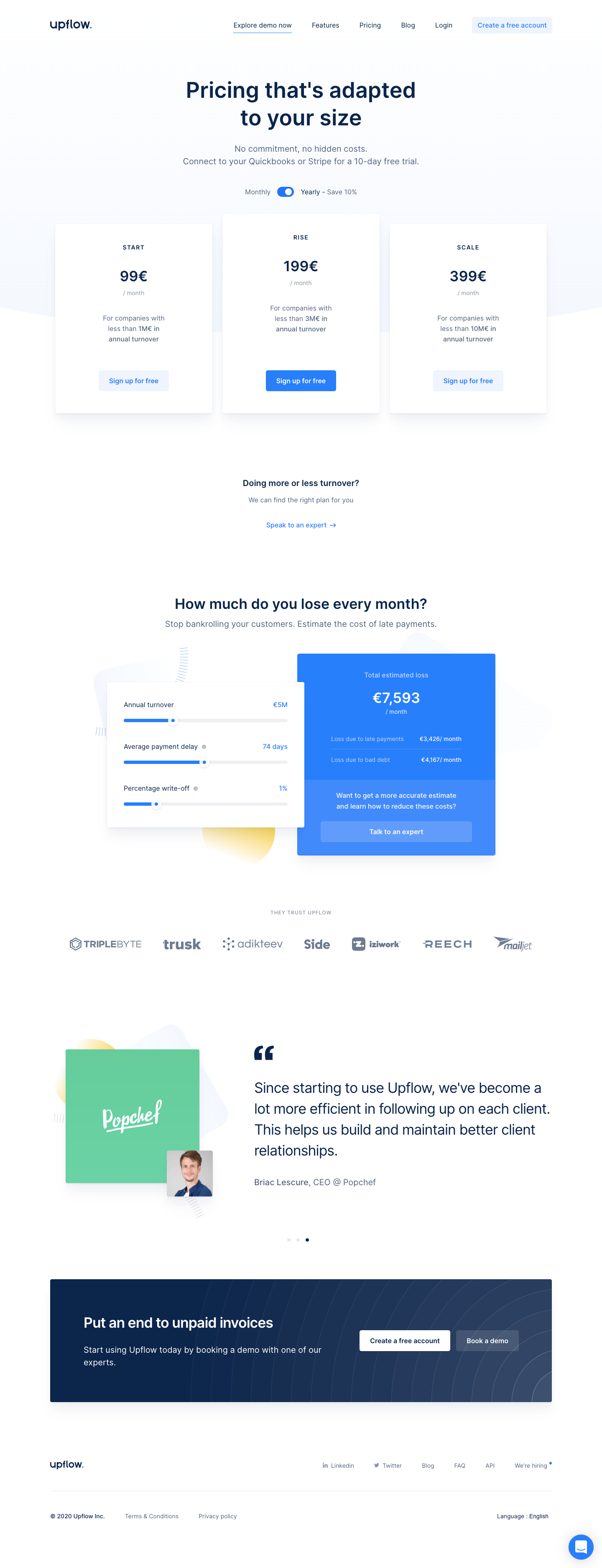 Upflow Pricing Page