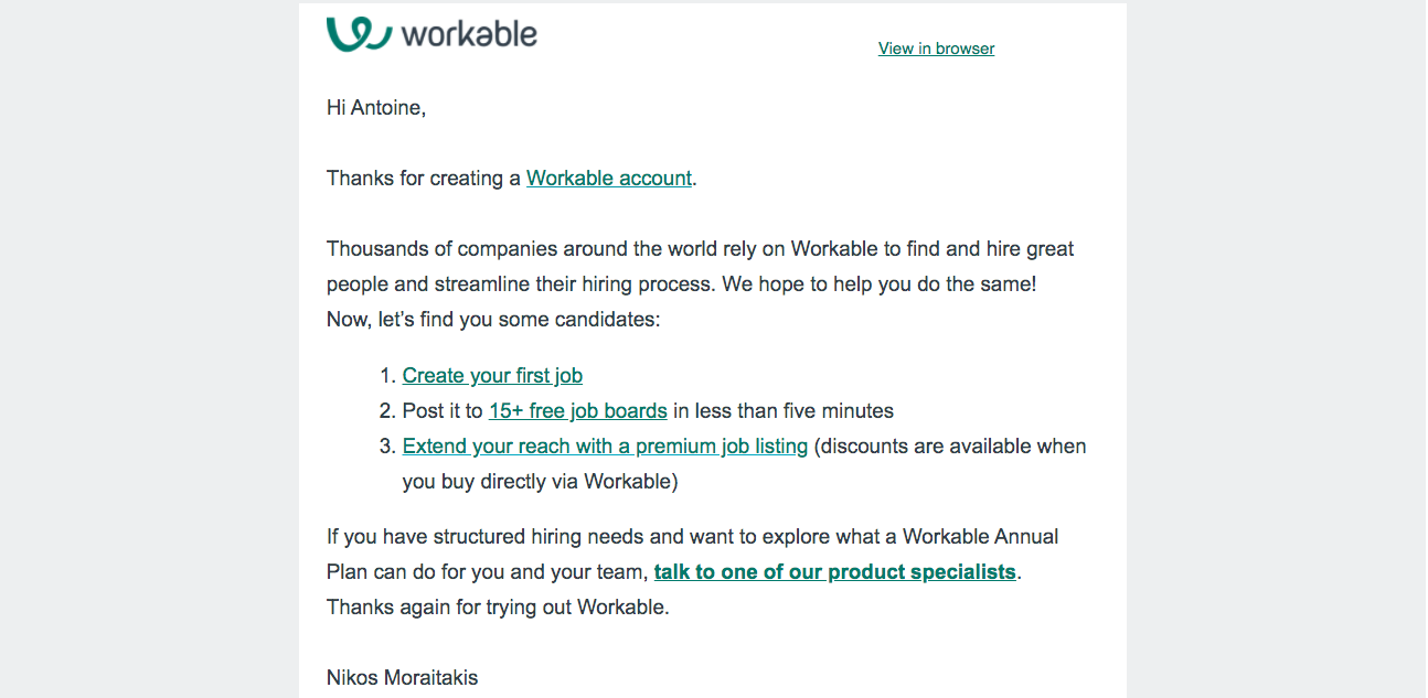 Workable Welcome Email
