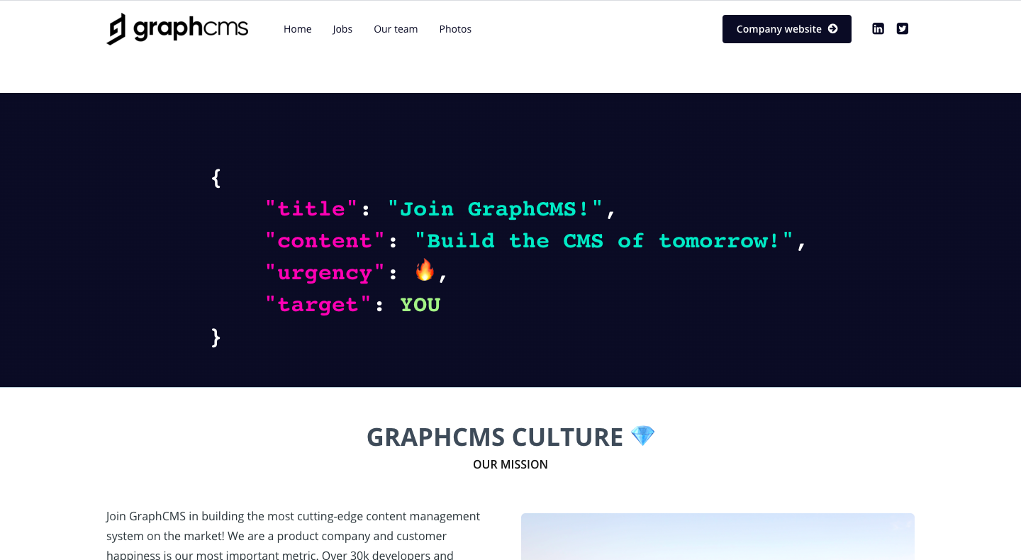 GraphCMS Careers Page