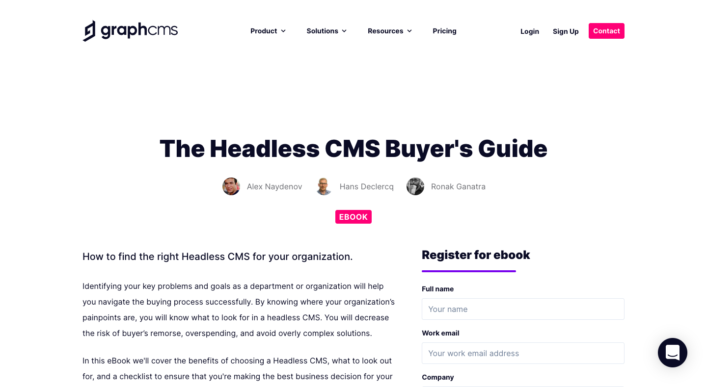 GraphCMS eBook Page