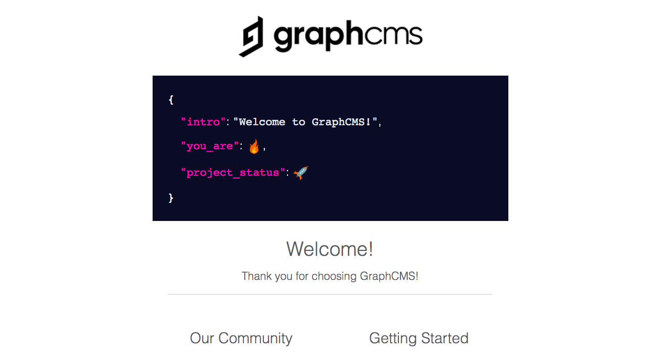 GraphCMS Welcome Email