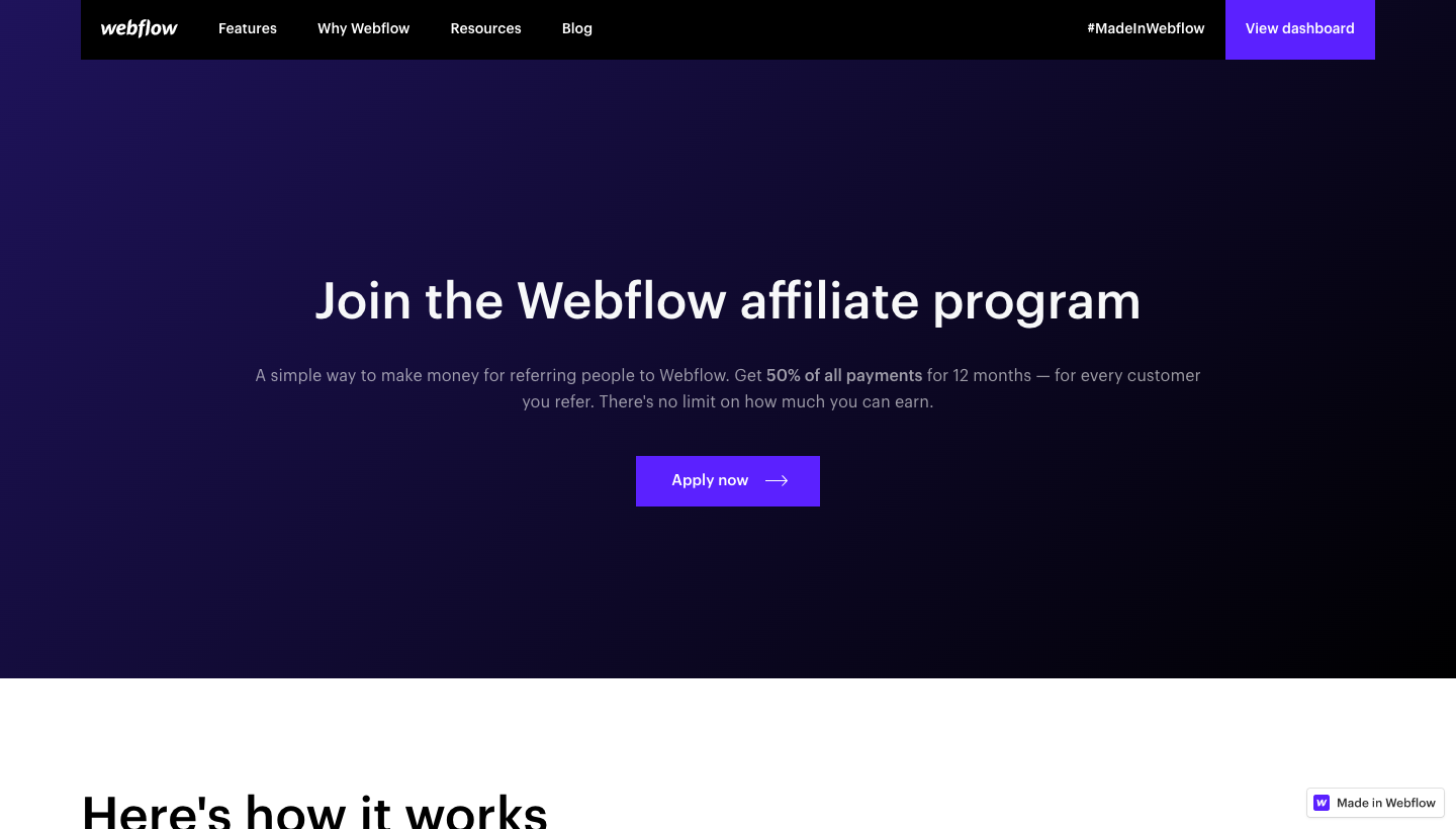 Webflow Affiliate Page