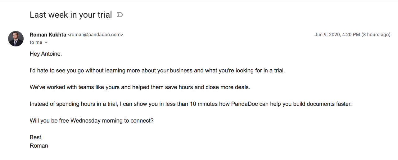 PandaDoc Free Trial Emails