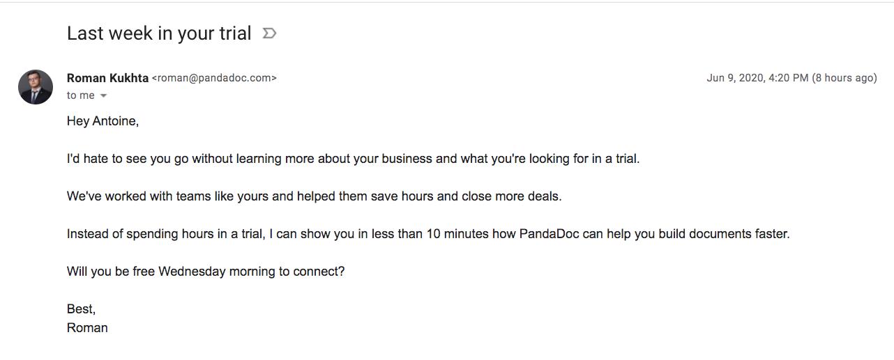 PandaDoc Free Trial Emails