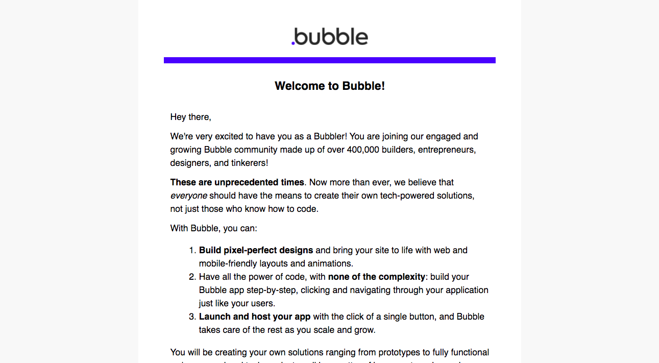 Bubble Welcome Email