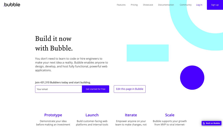Bubble Landing Page