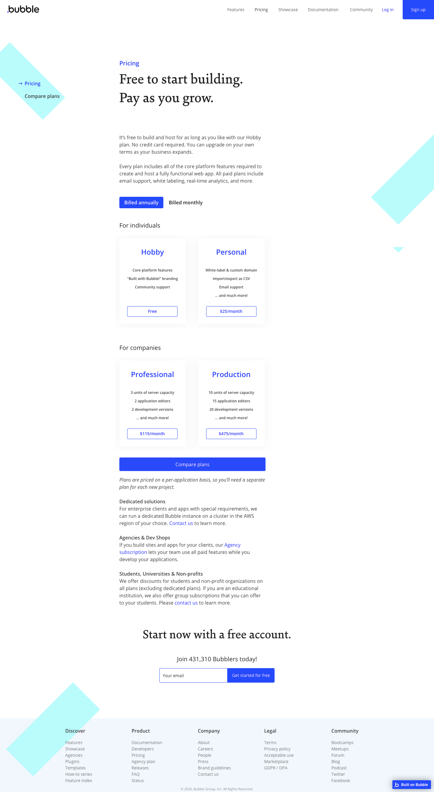 Bubble Pricing Page
