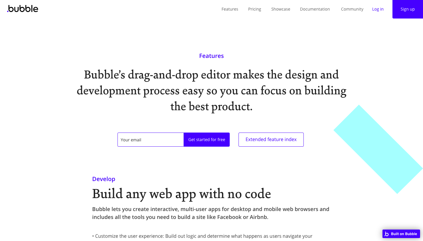 Bubble Features Page