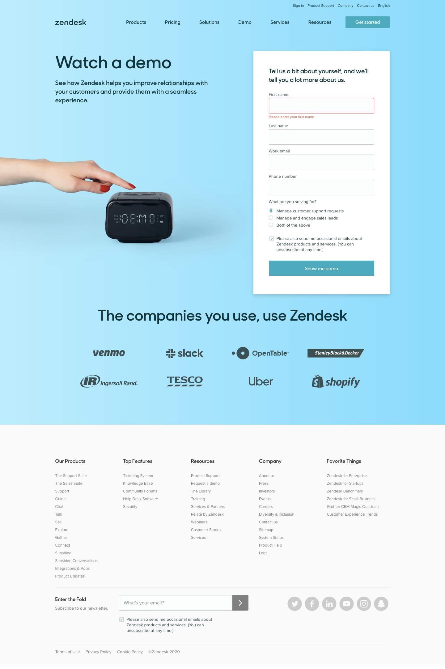 Zendesk Demo Request