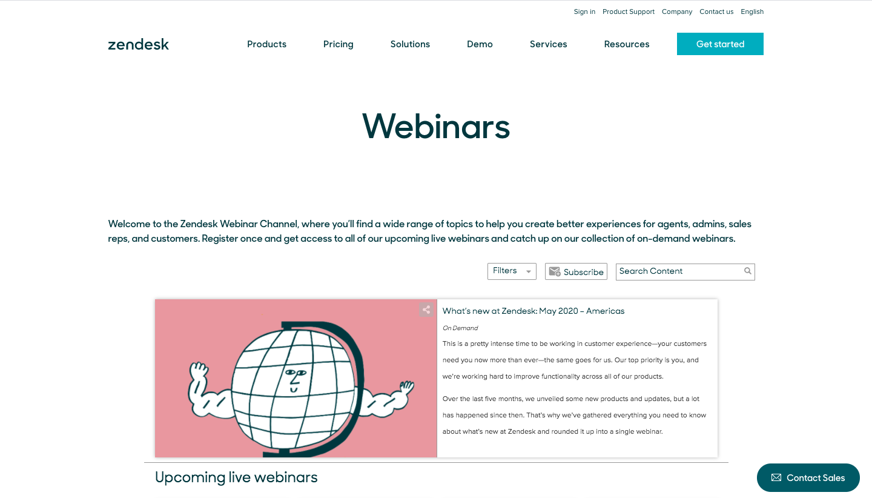 Zendesk Webinars Page