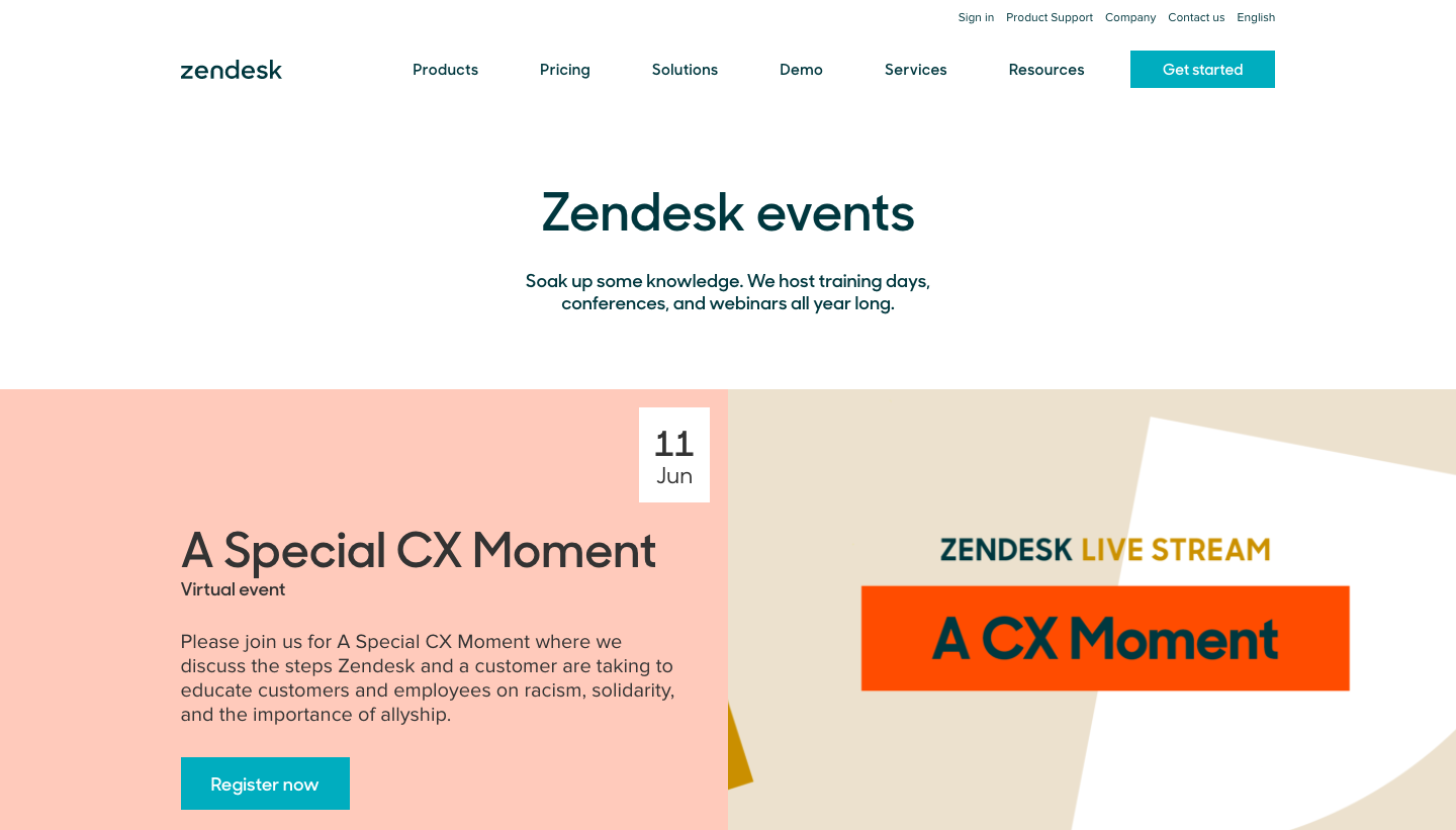 Zendesk Events Page