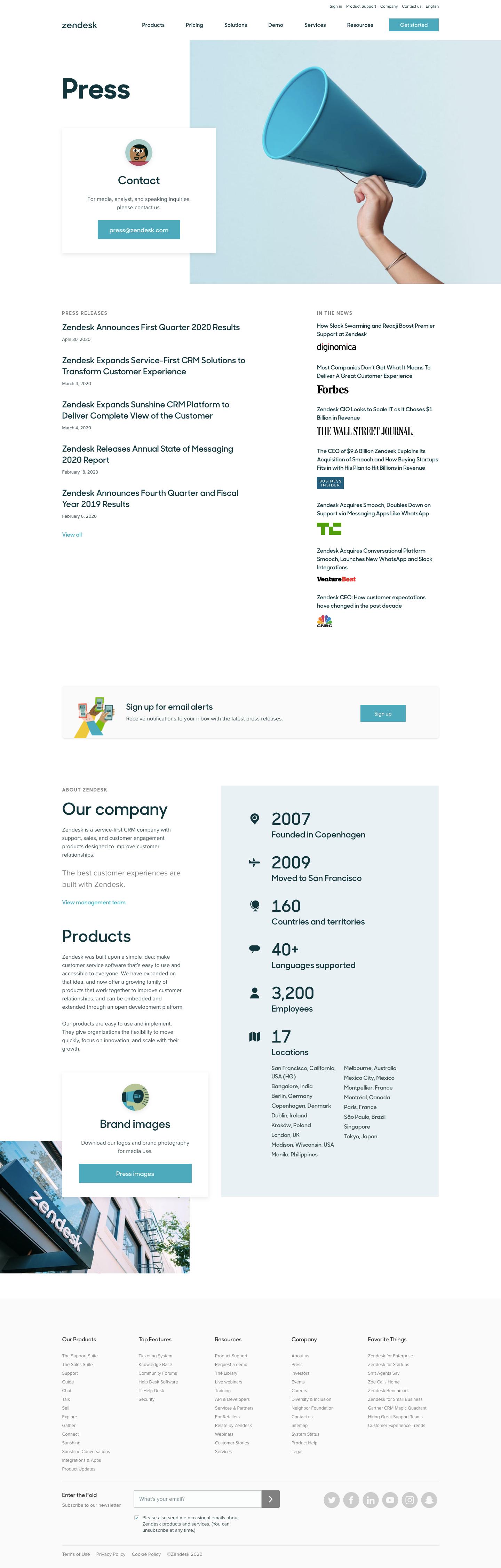 Zendesk Press Page