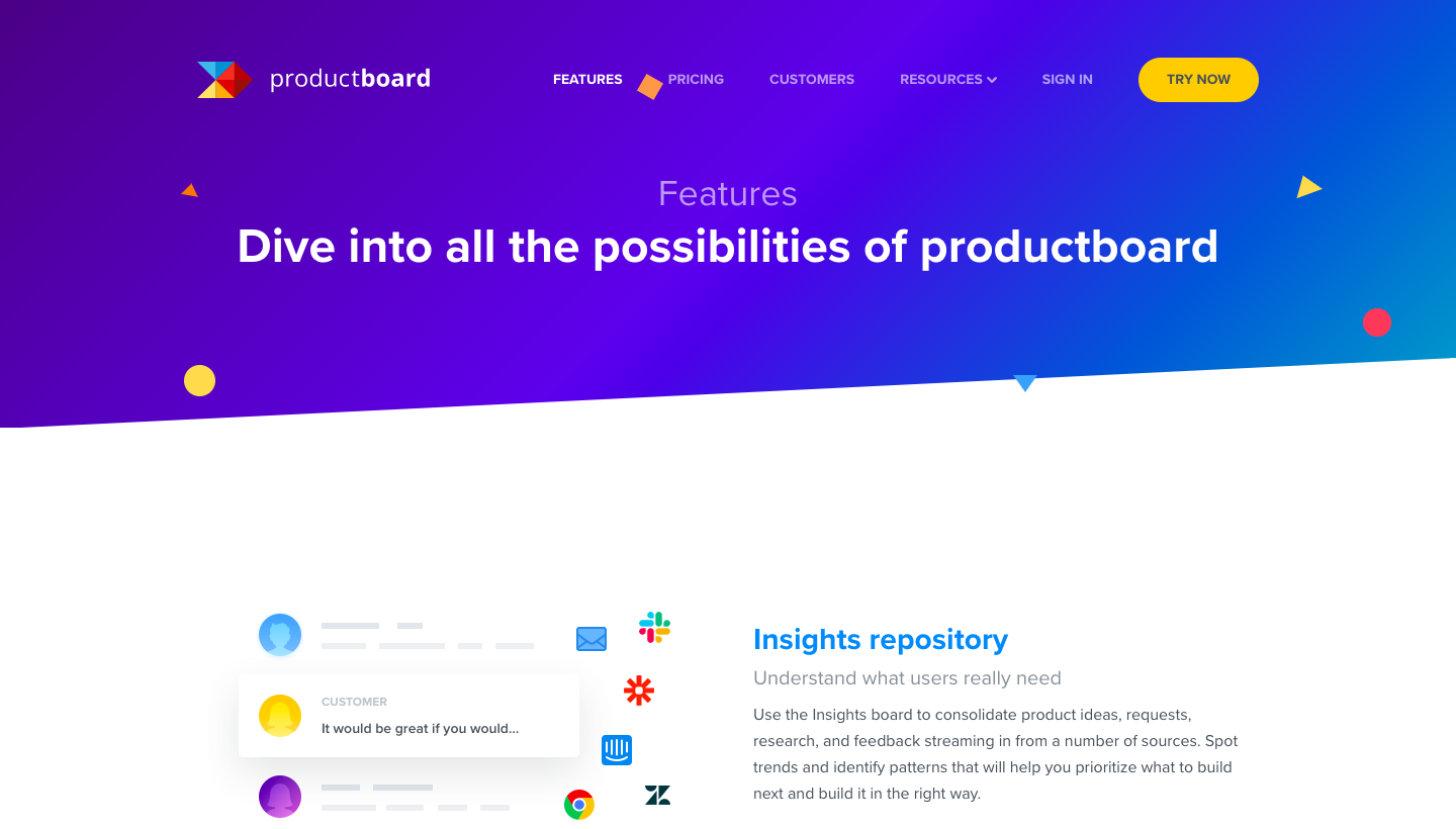 Productboard Features Page