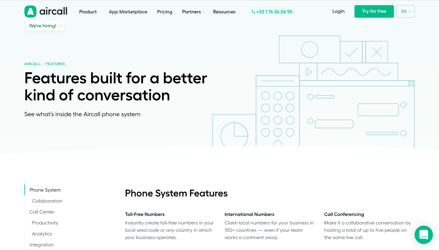 Aircall Features Page