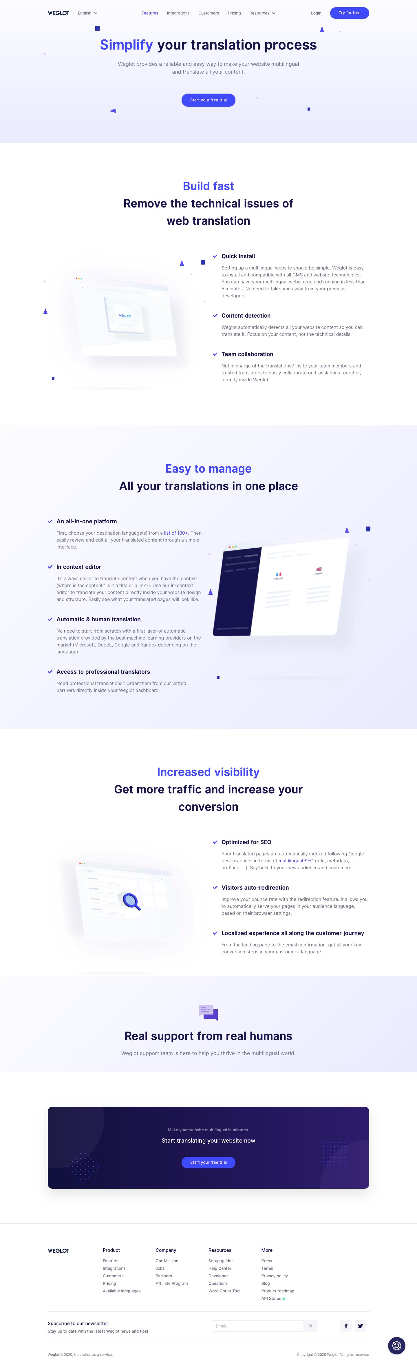 Weglot Features Page