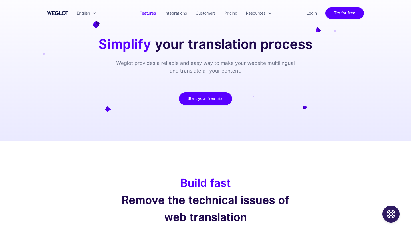 Weglot Features Page