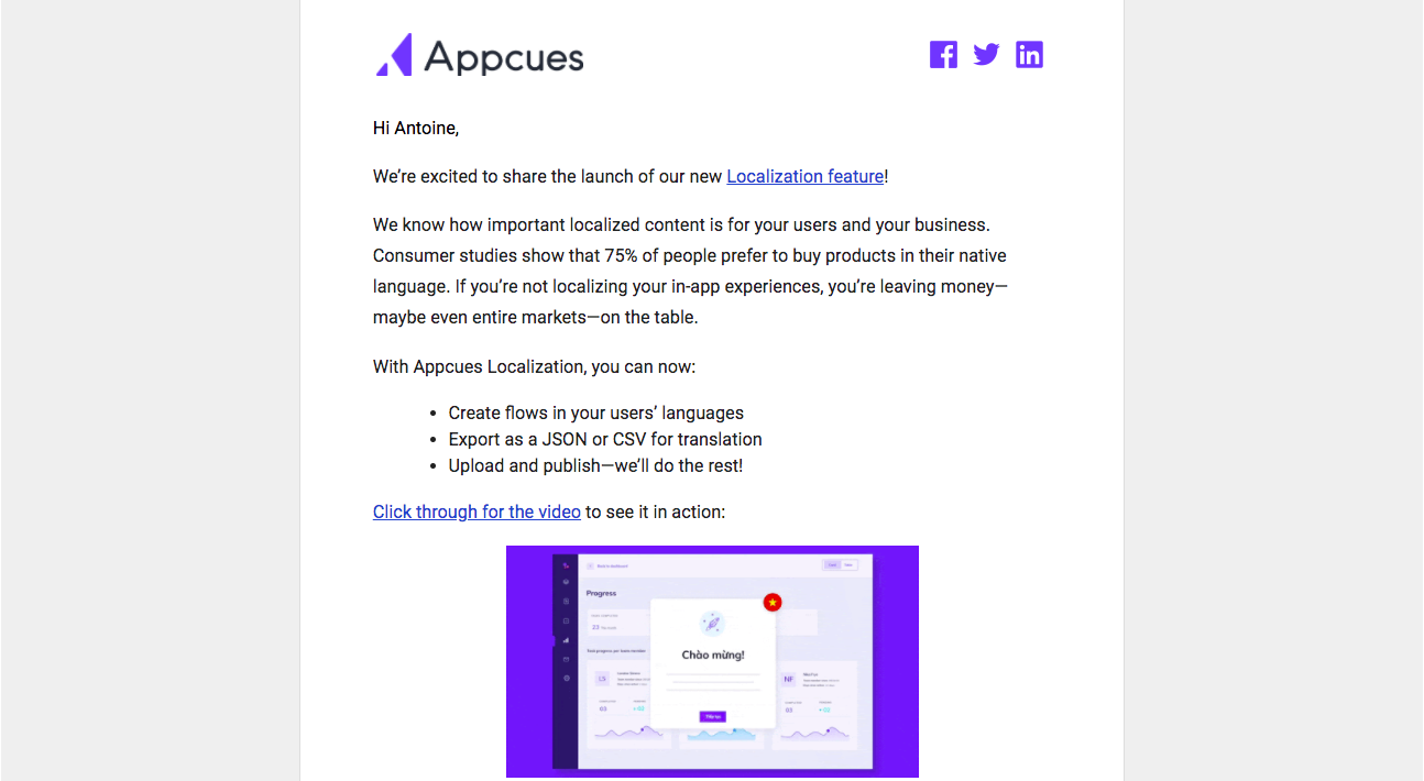 Appcues New Features Emails