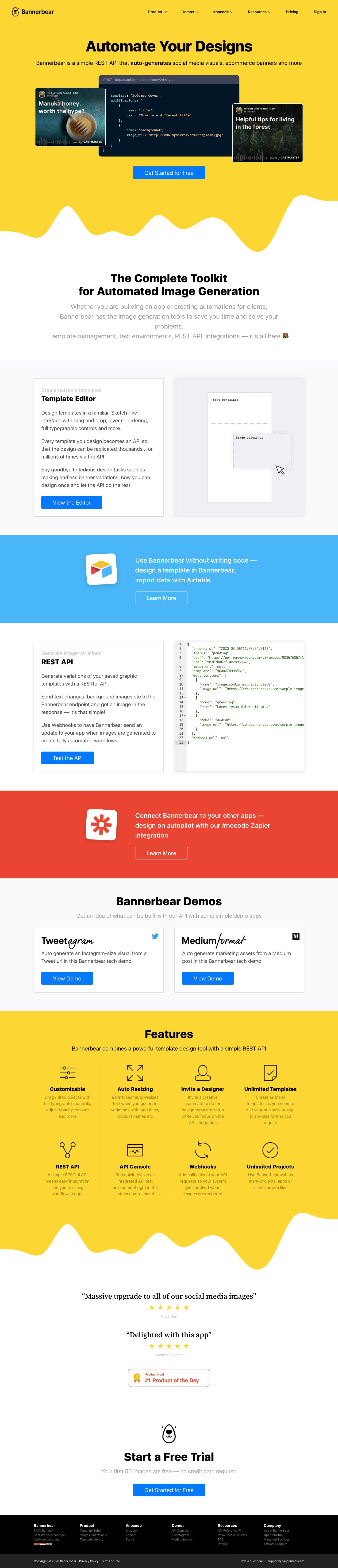 Bannerbear Landing Page