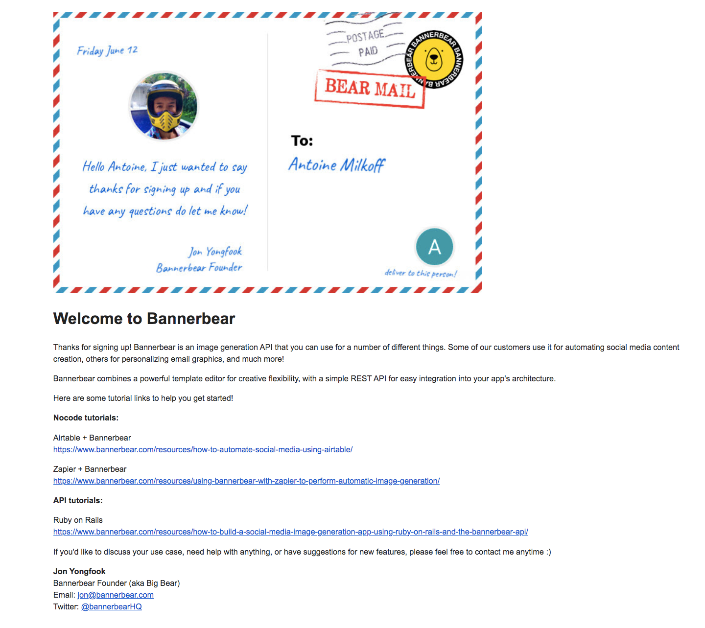 Bannerbear Welcome Email