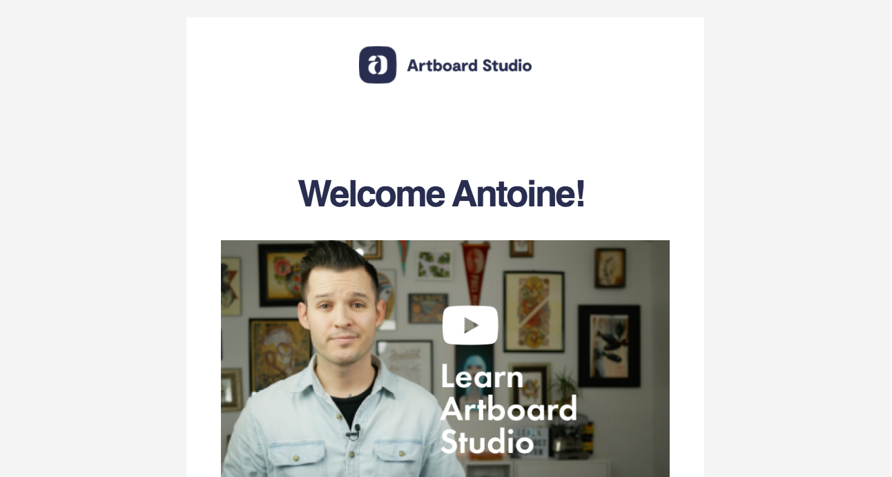 Artboard Studio Welcome Email