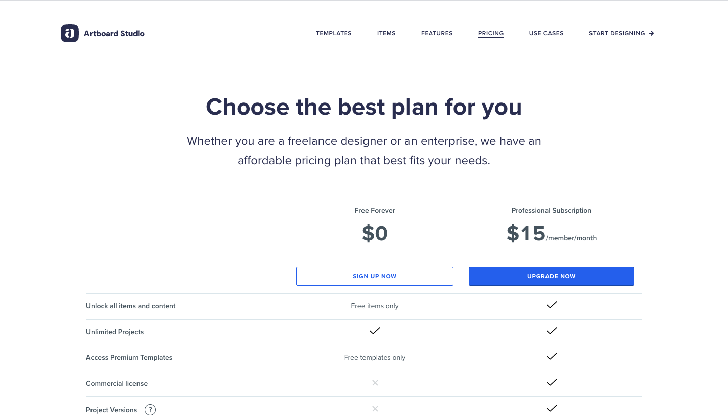 Artboard Studio Pricing Page