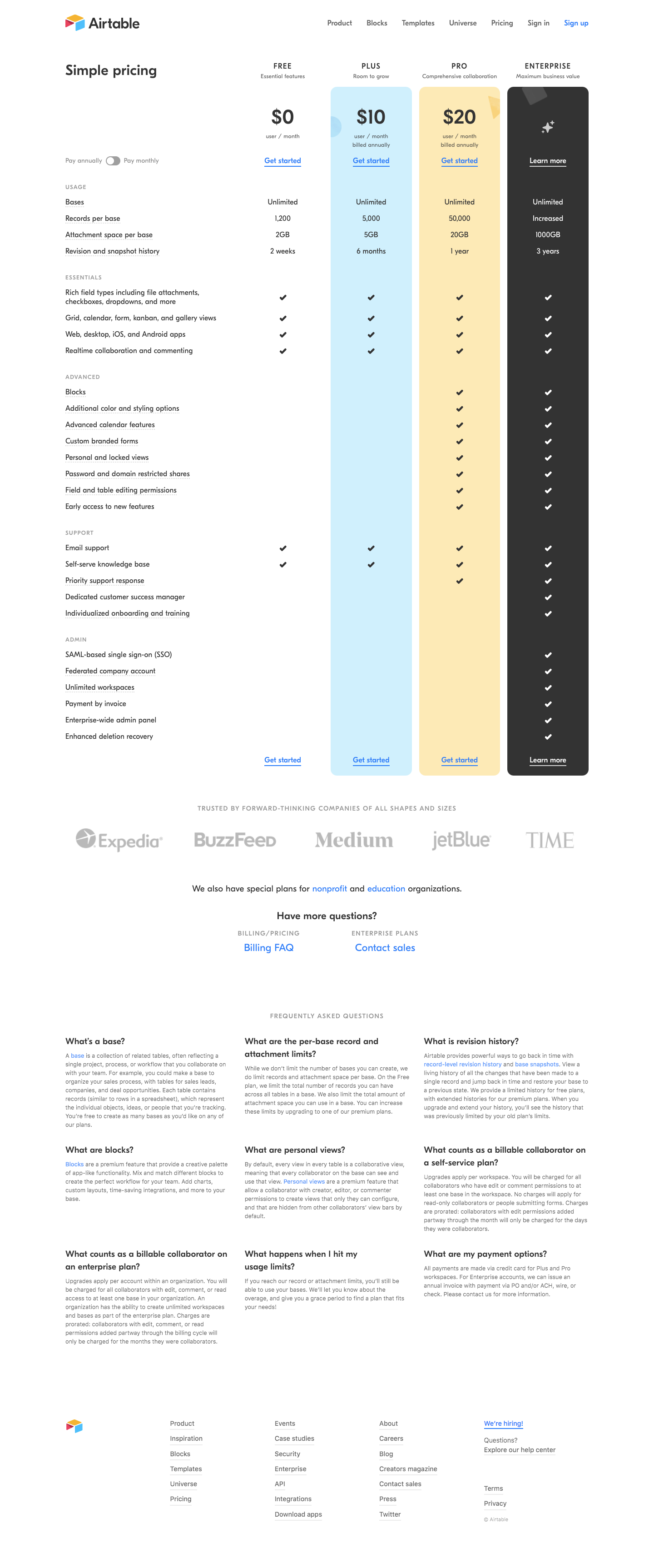 Airtable Pricing Page