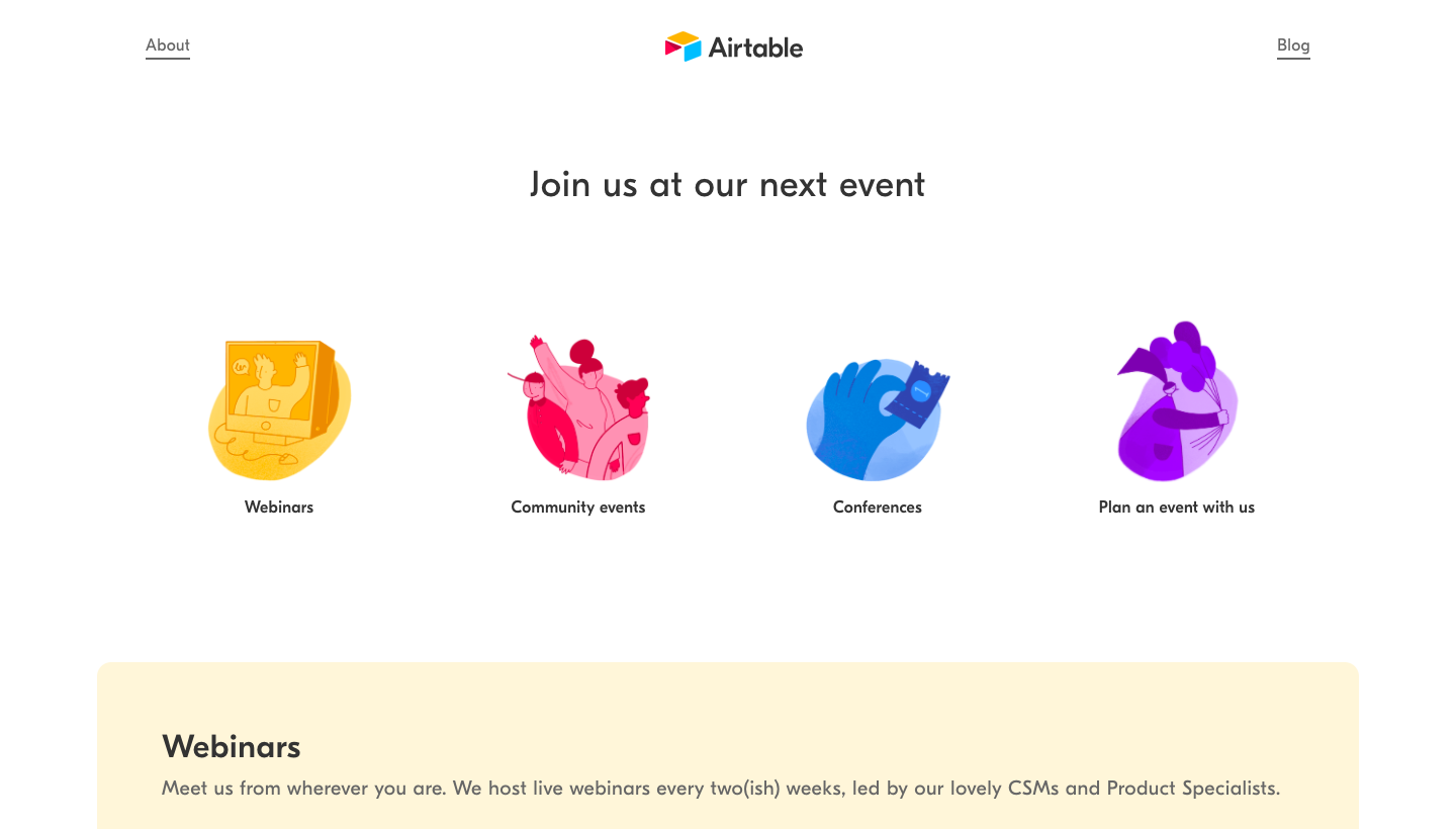 Airtable Events Page