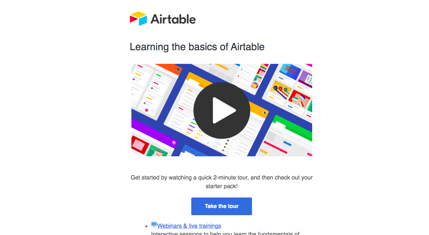 Airtable Welcome Email