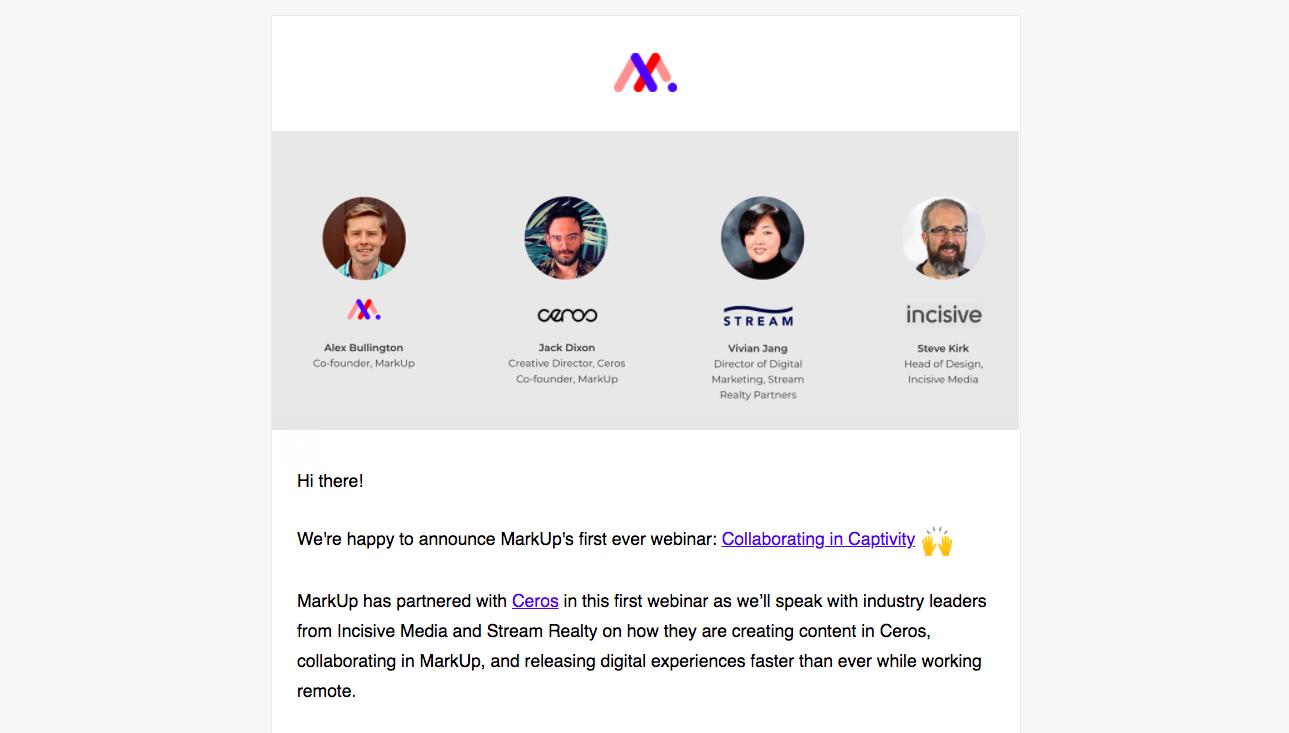 MarkUp Webinars Emails