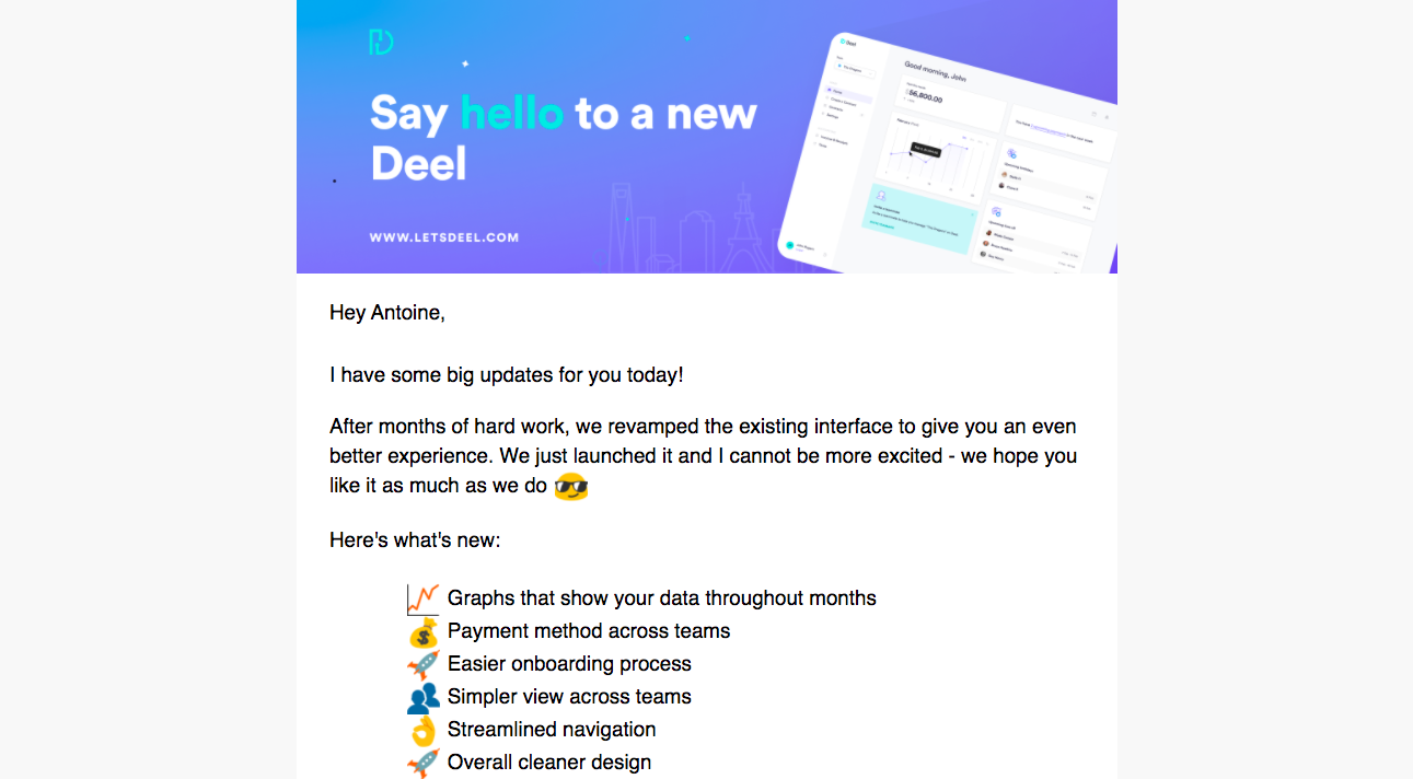 Deel New Features Emails