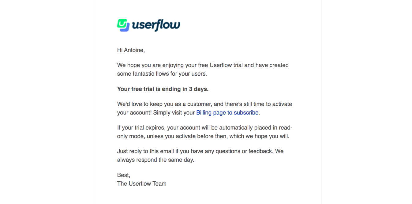 Userflow Free Trial Emails
