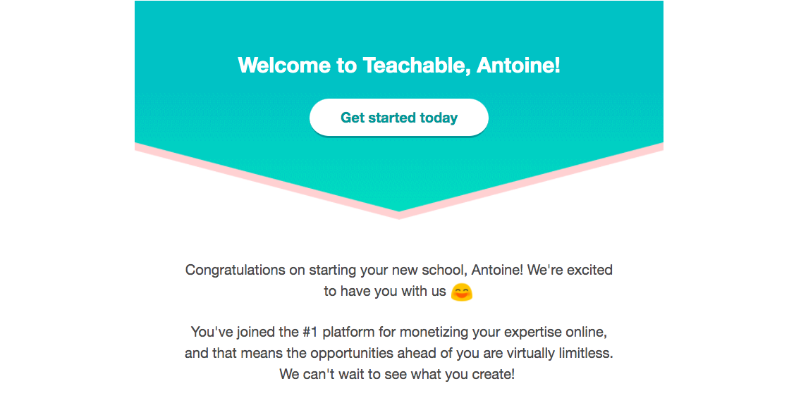 Teachable Welcome Email