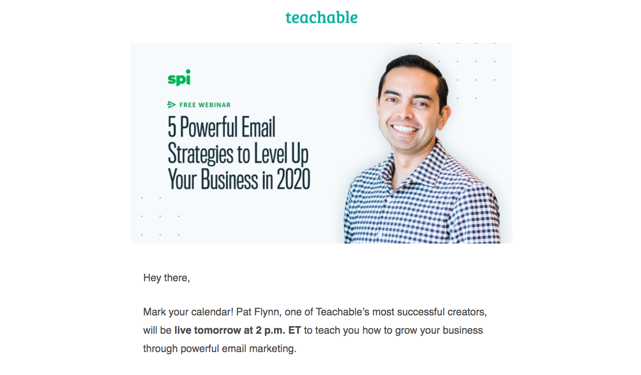 Teachable Webinars Emails