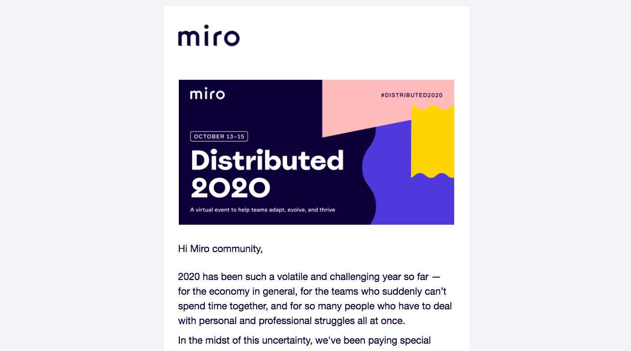 Miro Event Announcement Emails