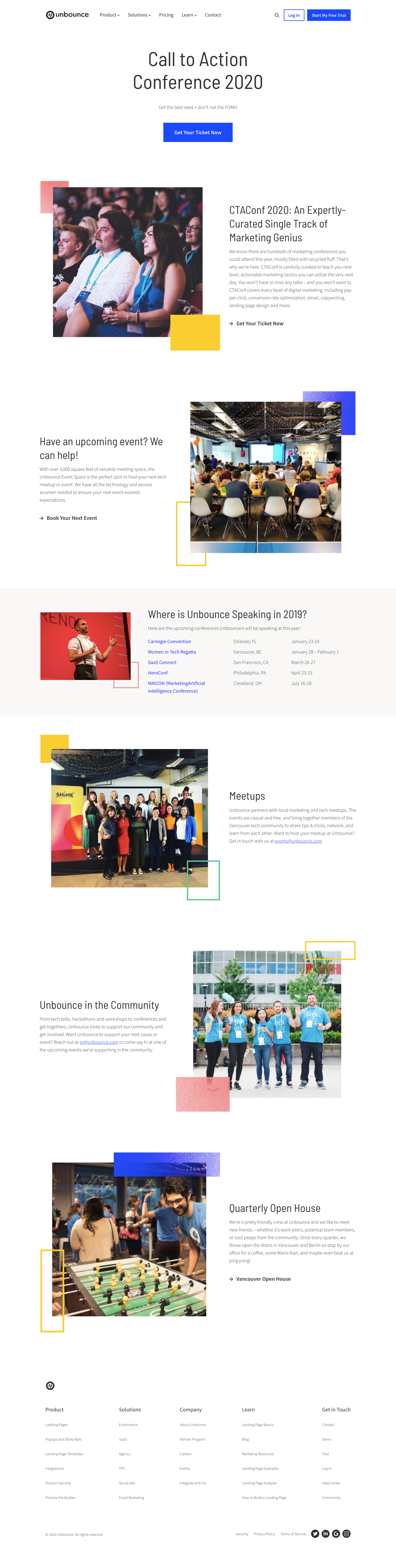 Unbounce Events Page