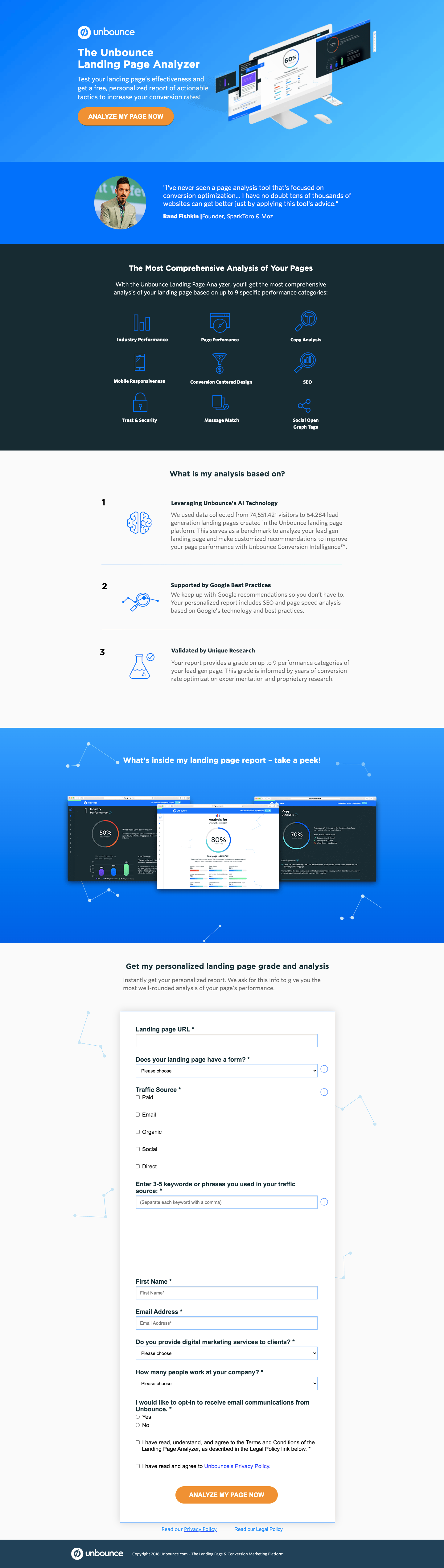 Unbounce Landing Page Analyzer
