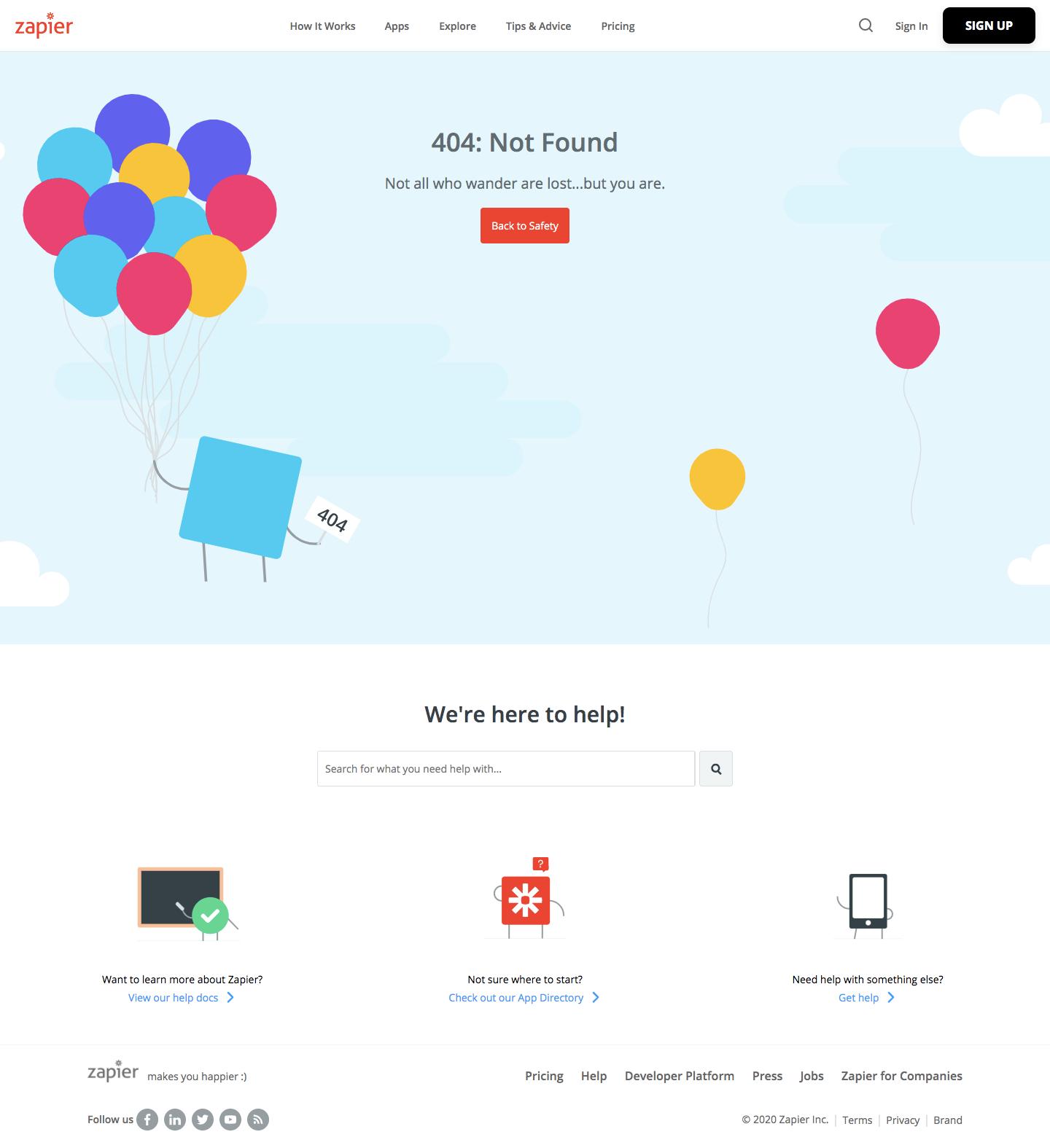 Zapier 404 Page