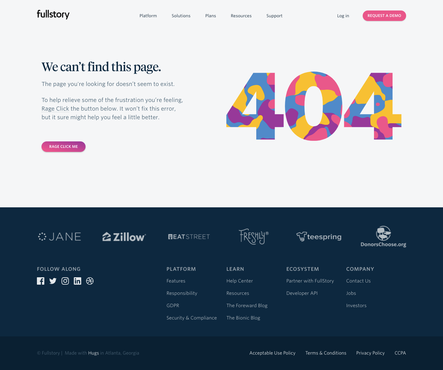Fullstory 404 Page