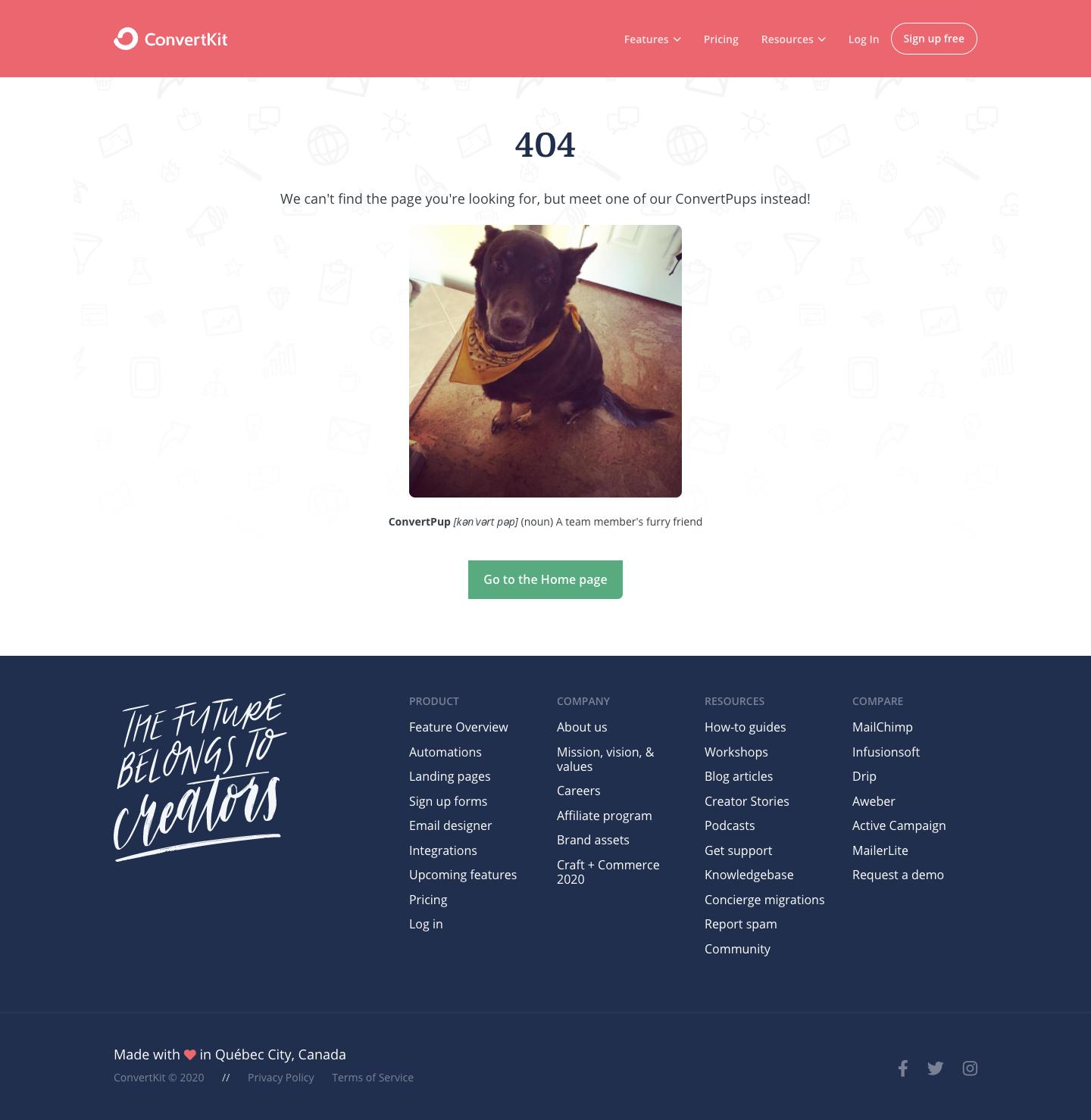 ConvertKit 404 Page