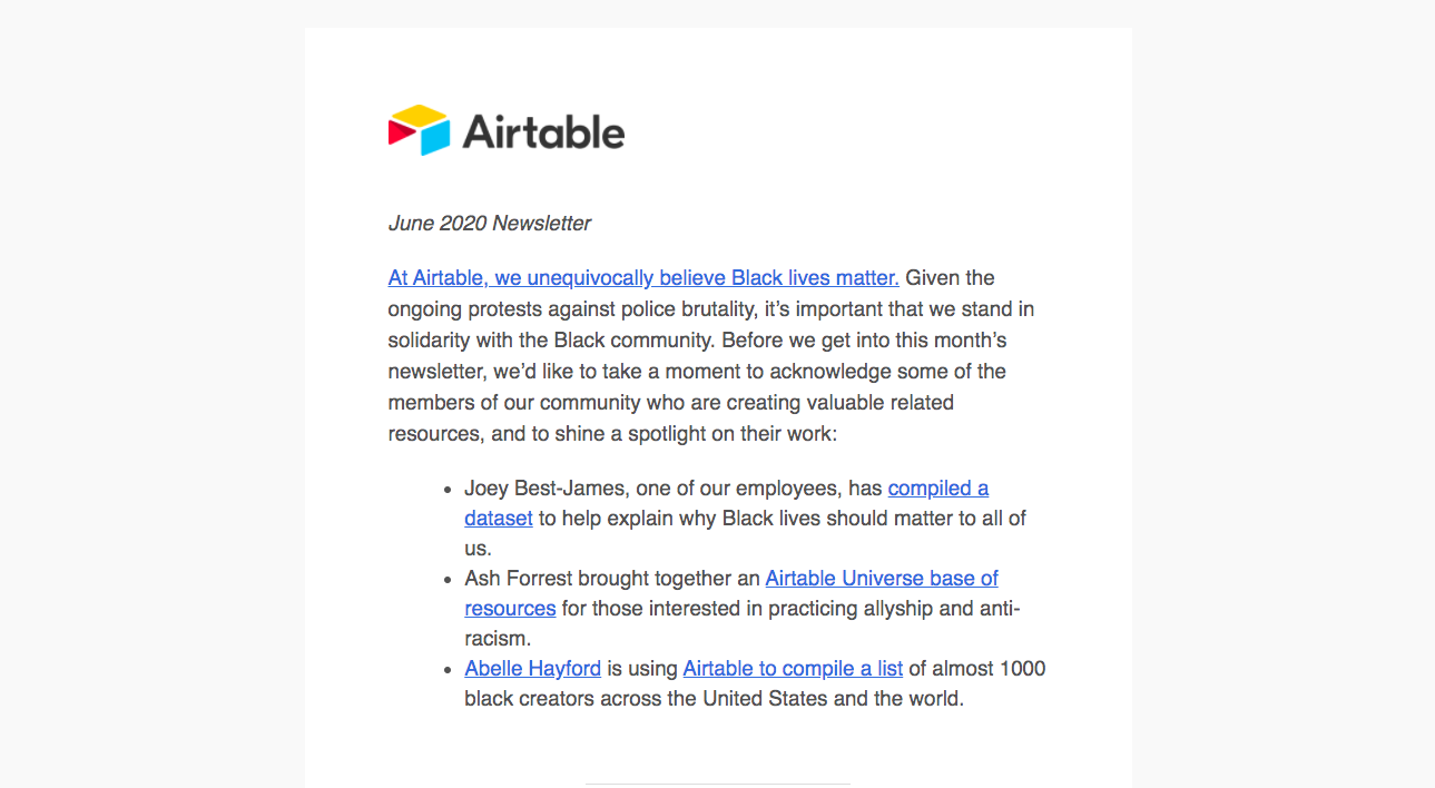 Airtable Newsletters