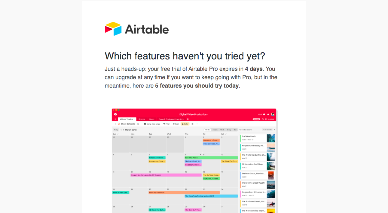 Airtable Free Trial Emails