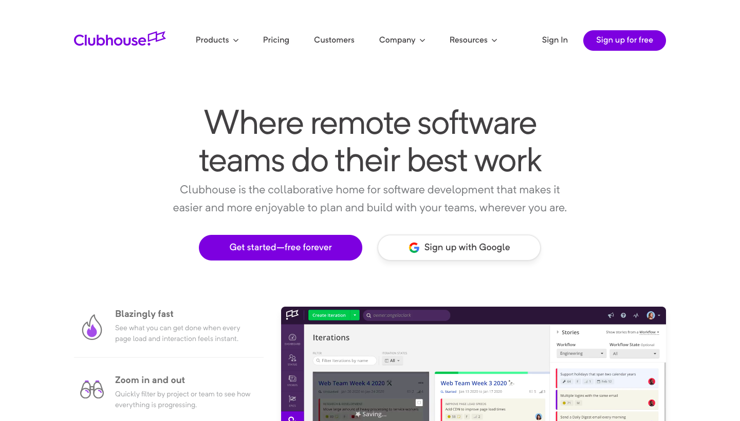 Clubhouse Landing Page