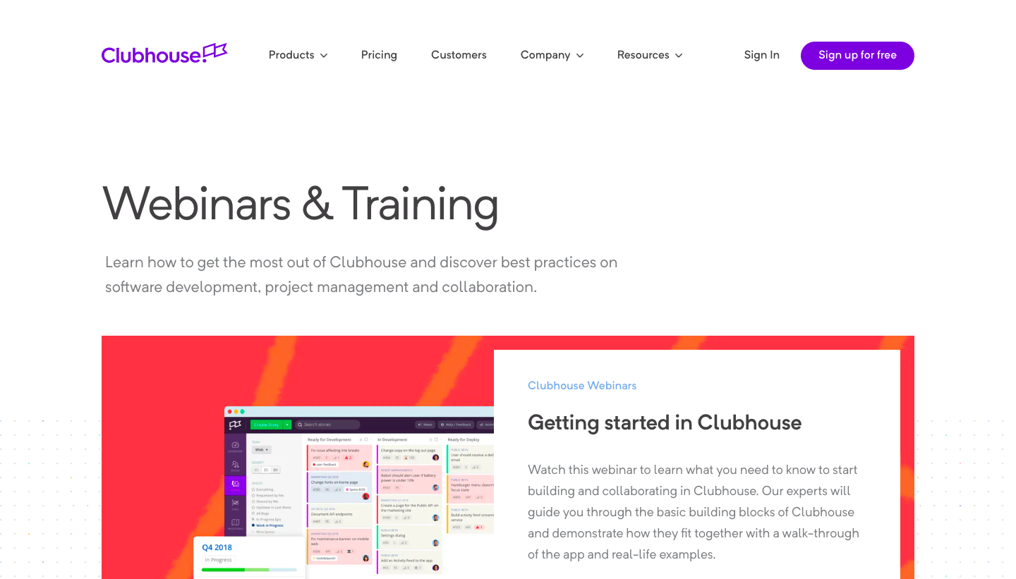Clubhouse Webinars Page