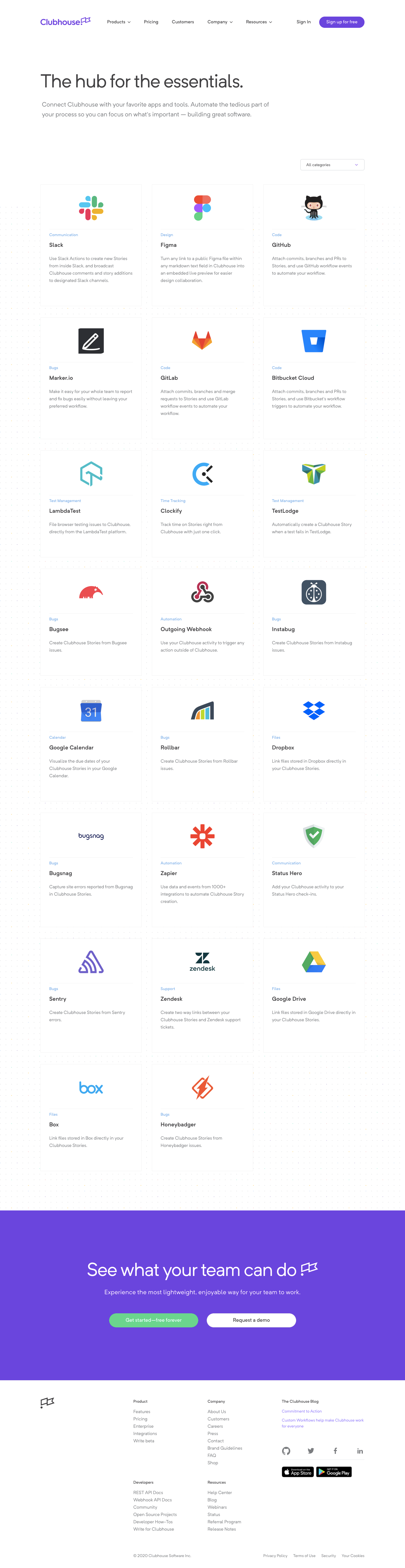 Clubhouse Integrations Page