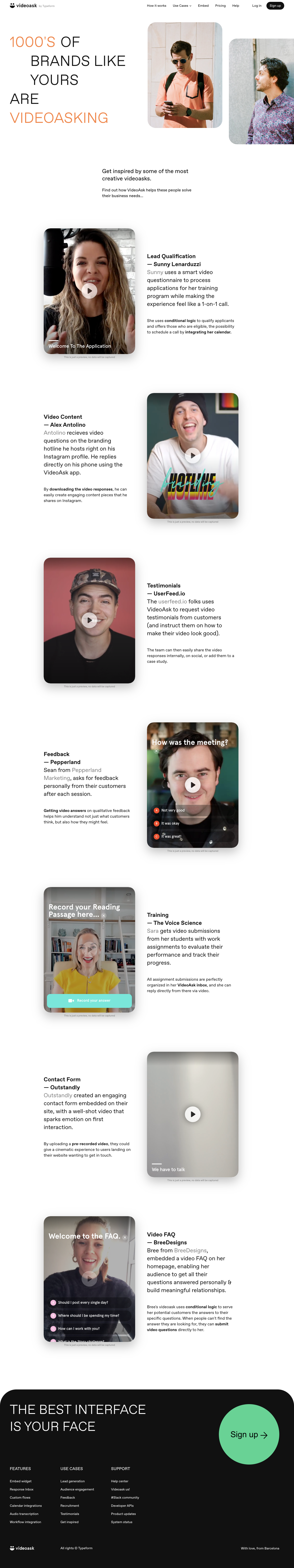 VideoAsk Use Cases Page