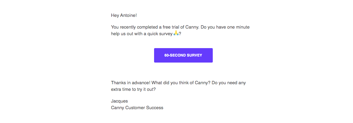 Canny Survey Emails
