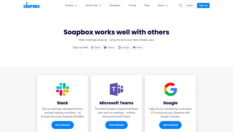 Soapbox Integrations Page